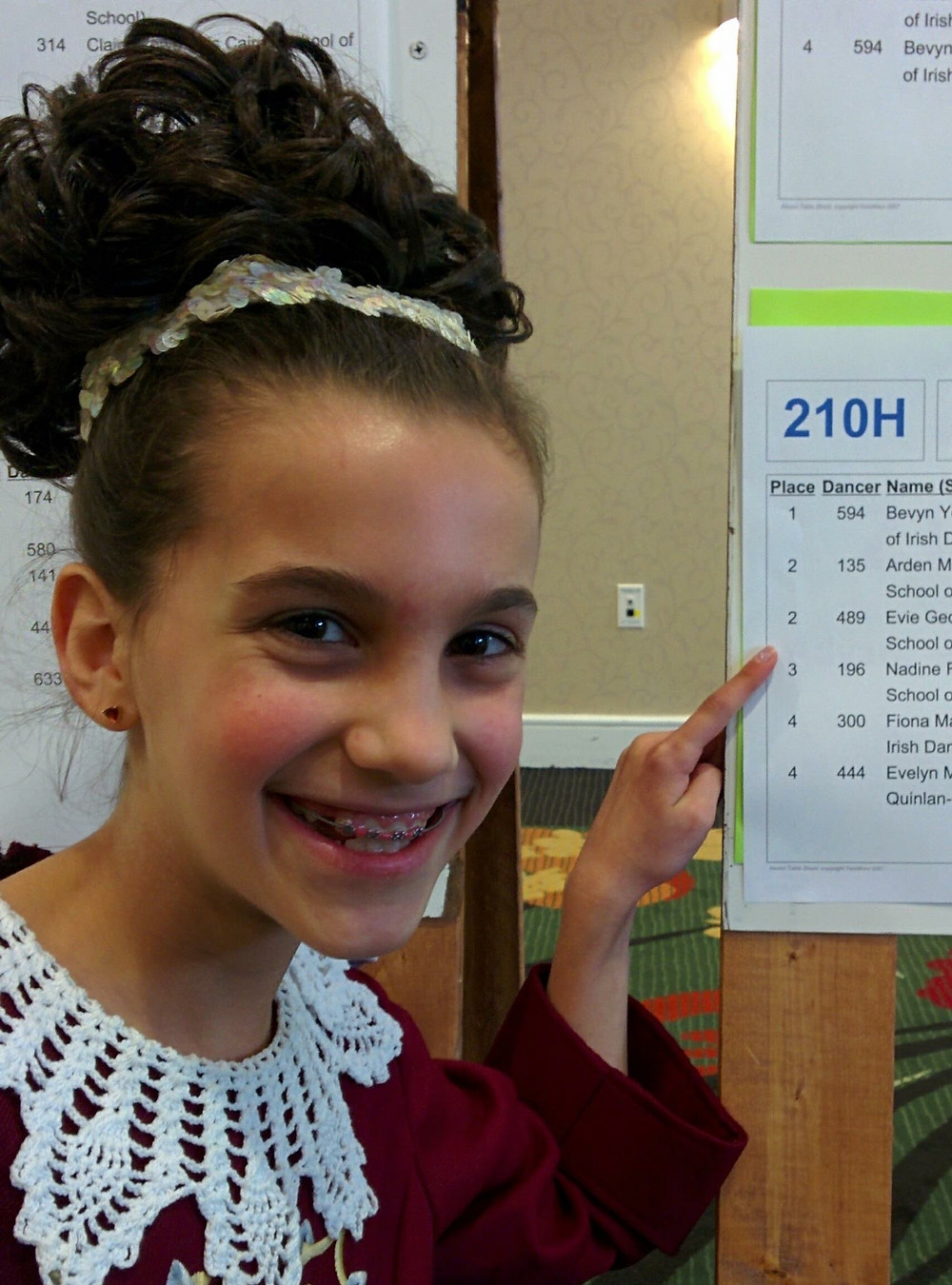 One of our intermediate dancers pointing at her results in one of her dances