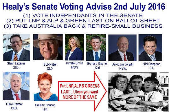 Healy's Senate Voting Advise 2 July 2016