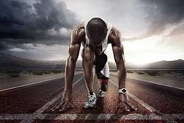 Sport backgrounds. Sprinter on the start