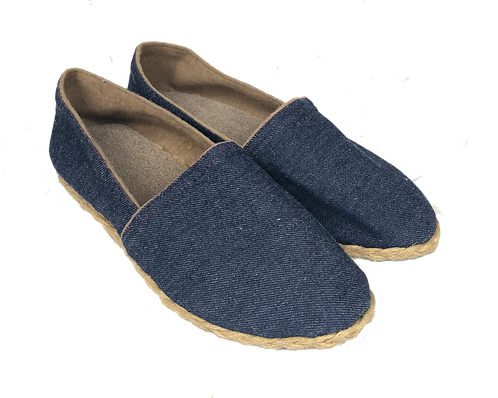 Slip-on Flats - Denim w/ Jute accent