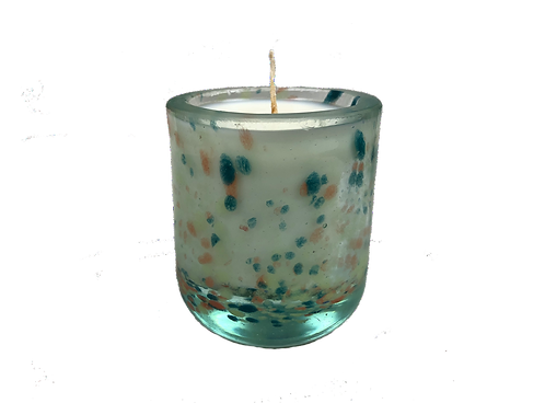 Handblown Recycled Glass Soy Candle - Eucalyptus Mint