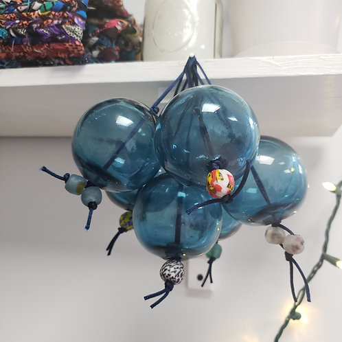 Glass ornaments w/ bead accents
