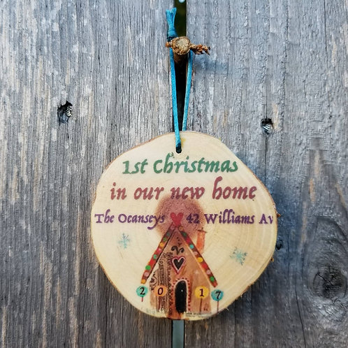 "Custom ""new home"" ornament"