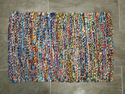 Colorful Cotton Fabric Floor Rug 3'x2'
