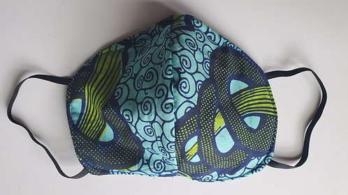 Blue Cotton African Print N95 Style Face Mask