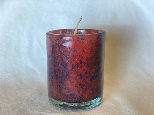 Handblown Recycled Glass Soy Candle - Lavender Vanilla