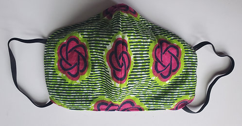 Green & Pink Cotton African Print N95 Style Face Mask