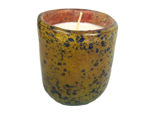 Handblown Recycled Glass Soy Candle -Mango Beachwood