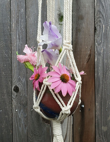 Macrame & recycled handblown glass plant hanger