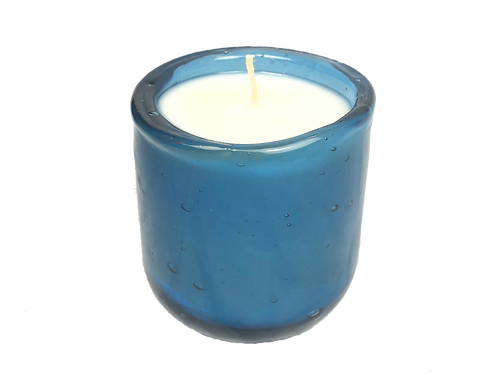 Handblown Recycled Glass Soy Candle - Fig & Honey