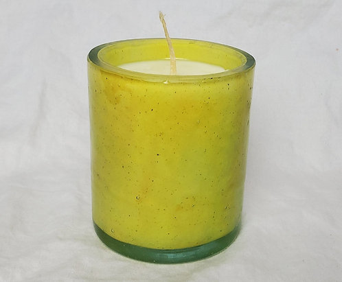 Handblown Recycled Glass Soy Candle - Honeysuckle