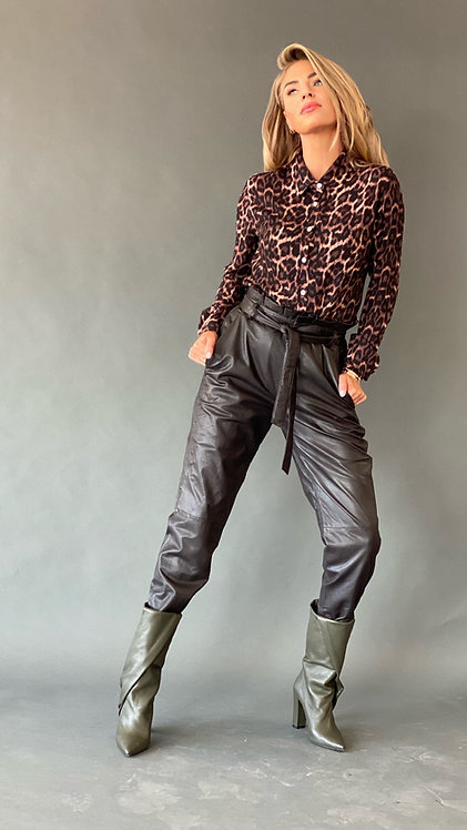 "EST'RUFFLE LEATHER PANTS ""SEAL BROWN"""