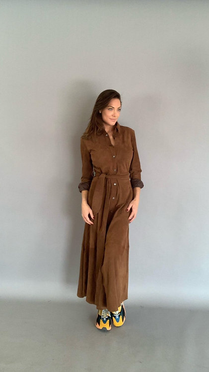EST´BUTTON DOWN DRESS `SUEDE MUSTANG BROWN