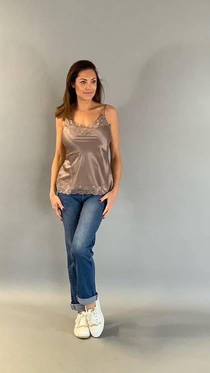 """SATIN STRETCH TOP HANDMADE LACE """"TAUPE"""""""