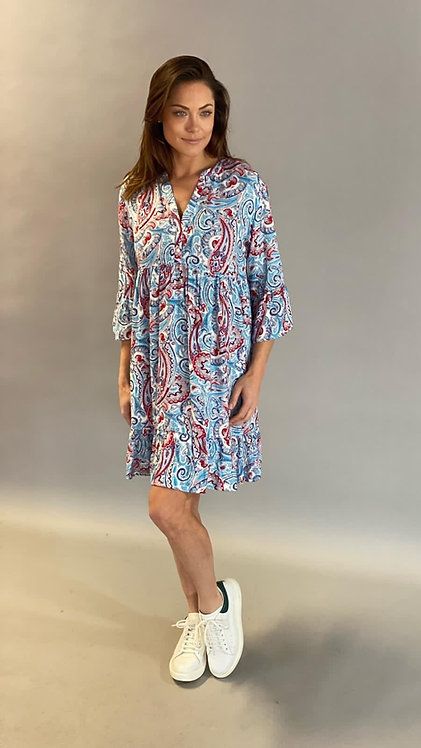 "EST'ALICE DRESS SHORT ""PAISLEY DENIM-RED"""