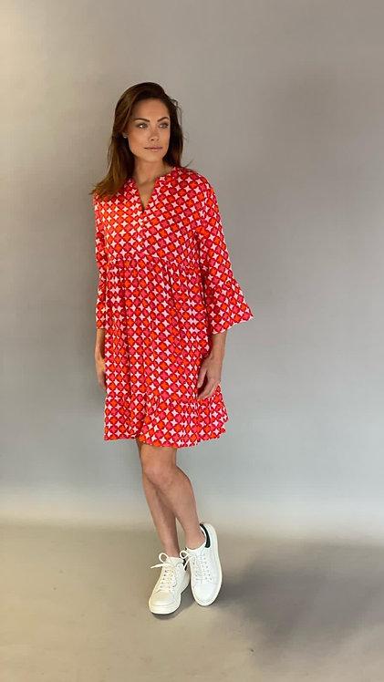 """EST'ALICE DRESS SHORT """"RED TILE PRINT"""""""