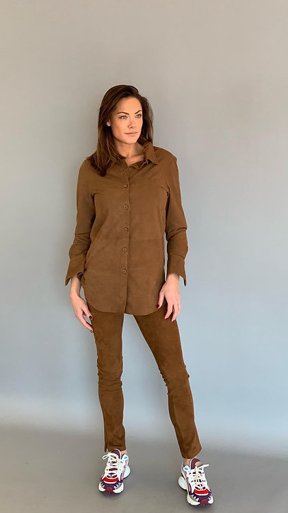 """EST'BUTTON DOWN BLOUSE NINA """"MUSTANG BROWN SUEDE"""""""