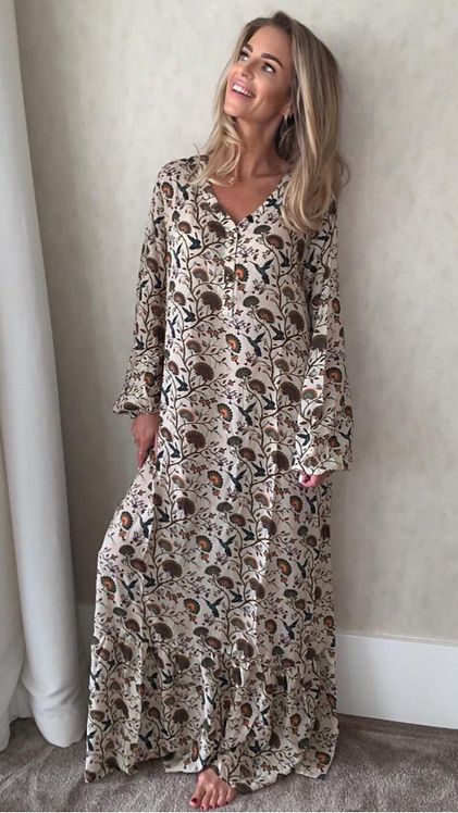 EST'PARIS DRESS VISCOSE | PAISLEY BEIGE BIRD