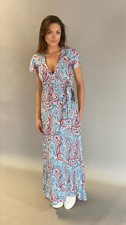"EST'SABRINA WRAP DRESS ""PAISLEY DENIM"""