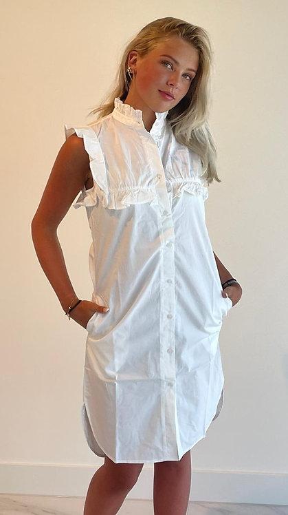 EST'PARIS COTTON DRESS RUFFLE WHITE