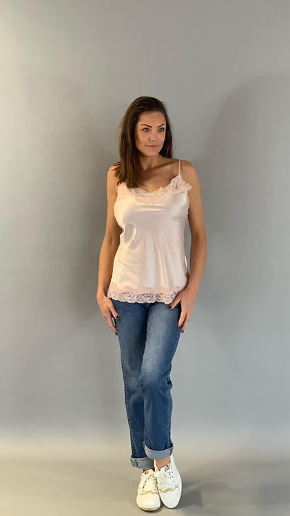 """SATIN STRETCH TOP HANDMADE LACE """"SOFT PINK"""""""