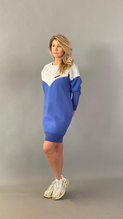 "EST'SEVEN LOGO DRESS ""BAJA BLEU/GREY"""