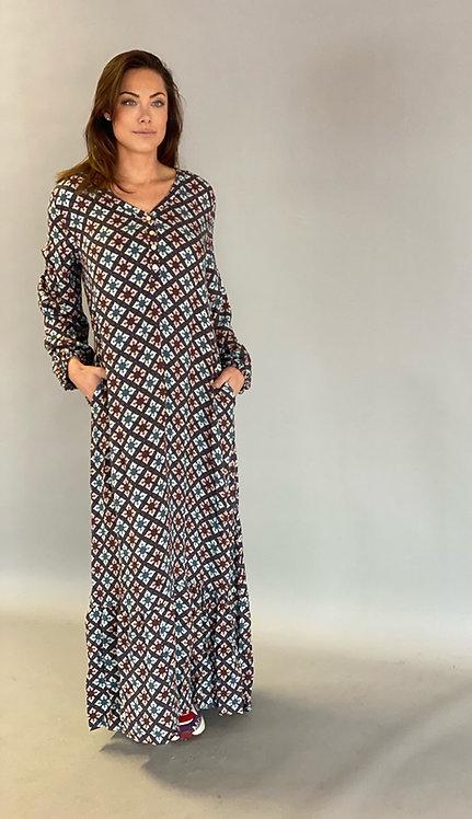 EST'PARIS DRESS VISCOSE |  BATIK BLUE PRINT SQUARE