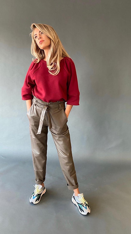 EST'RUFFLE LEATHER PANTS ''TAUPE''