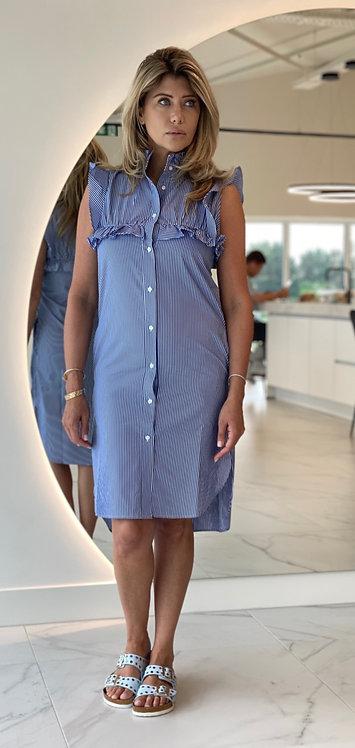 EST'PARIS COTTON DRESS RUFFLE WHITE-BLUE STRIPE