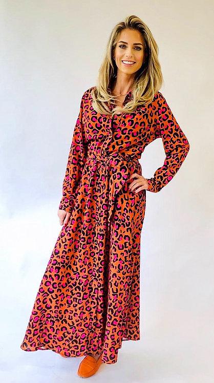 EST'ORANGE LEOPARD DRESS