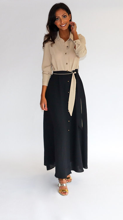 EST'LONG DRESS BEIGE ON TOP OF BLACK