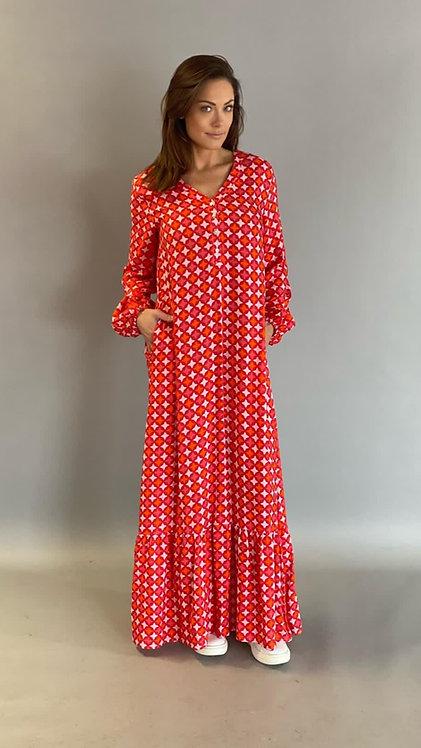 """EST'PARIS DRESS """"RED TILE PRINT"""""""
