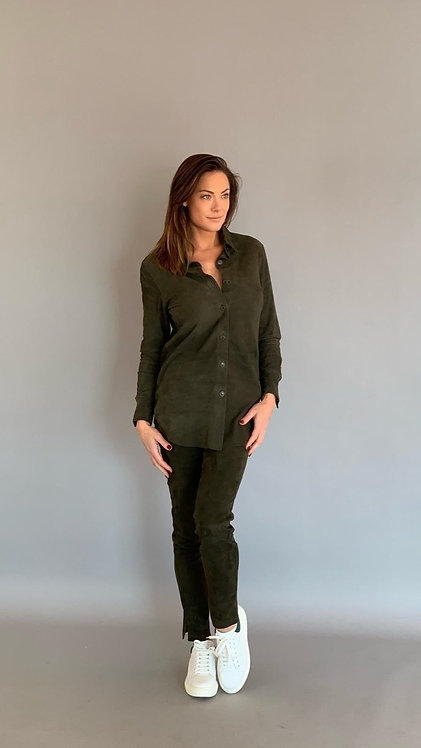 """EST'BUTTON DOWN BLOUSE NINA """"ARMY GREEN SUEDE"""""""