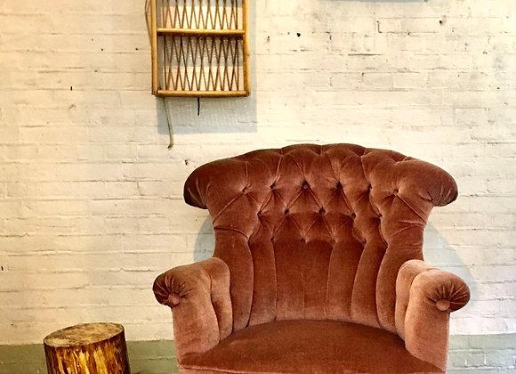 Vintage fauteuil pink velvet