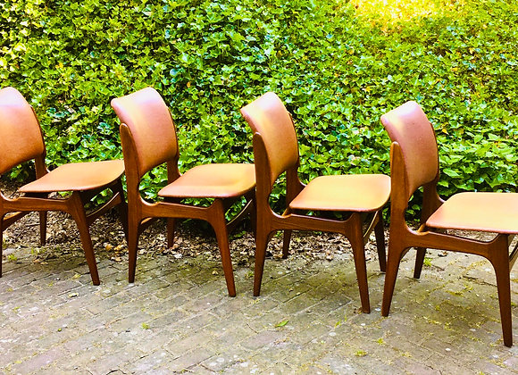 Stoelen Deens design, vintage eetkamerstoelen