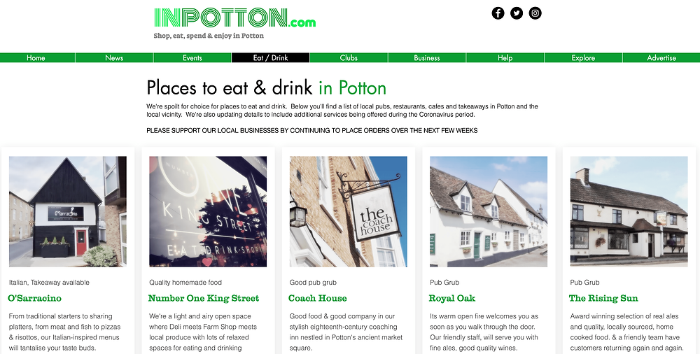 A snapshot of our inpotton.com/eatdrink page