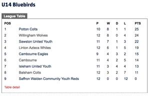 Cambridge U14 Bluebirds league