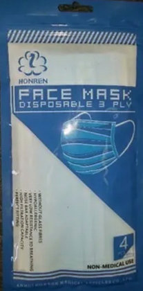 3-Ply Disposable Face Mask 4pk