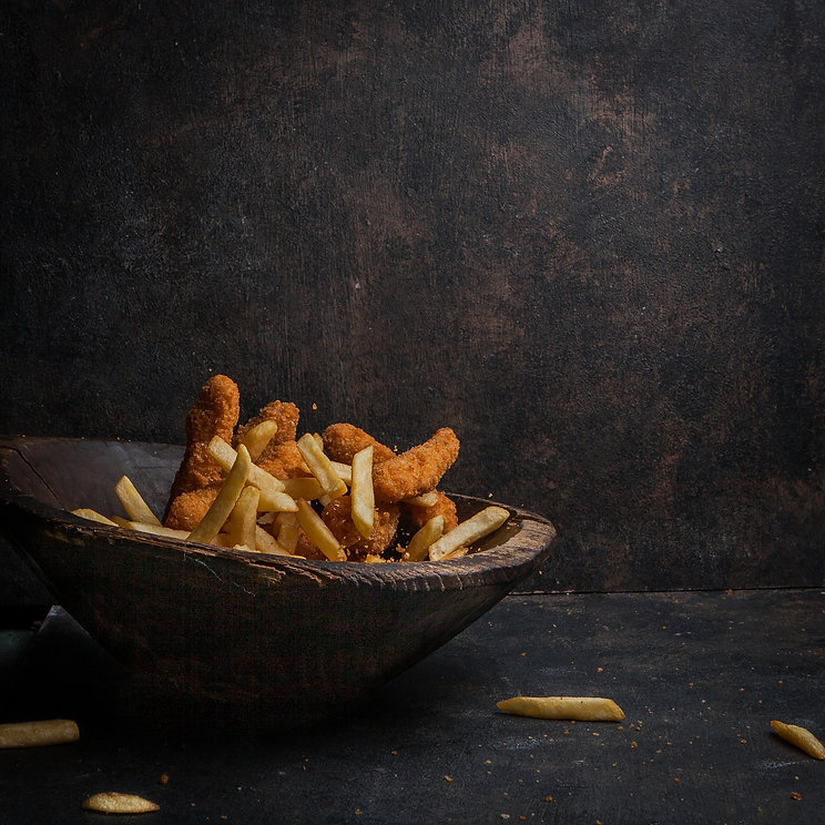 chicken-nuggets-with-french-fries-wooden