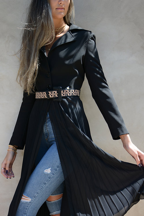 Rina Scimento Belted Long Pleated Jacket