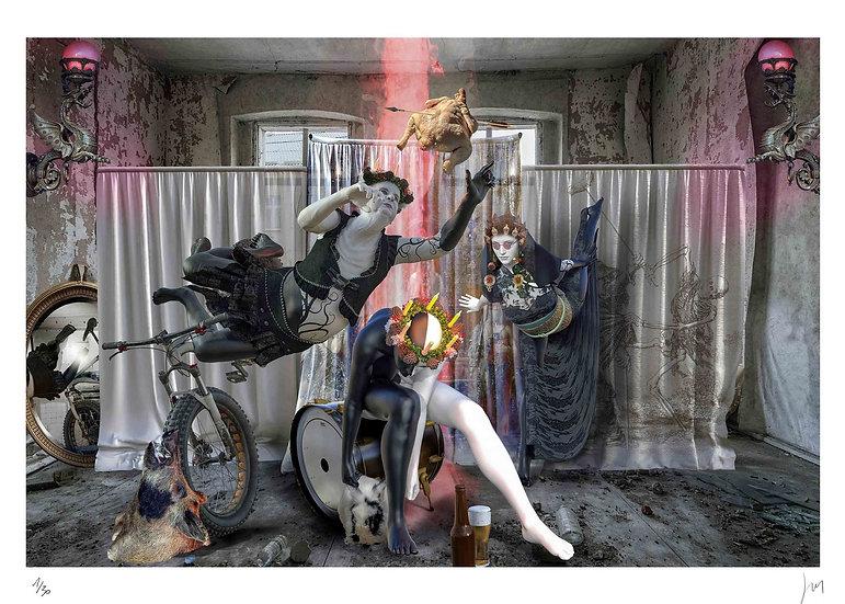 Lionel Morateur - Pantomine noire et blanche avec poule