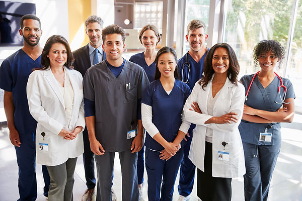 Team of healthcare workers at a hospital