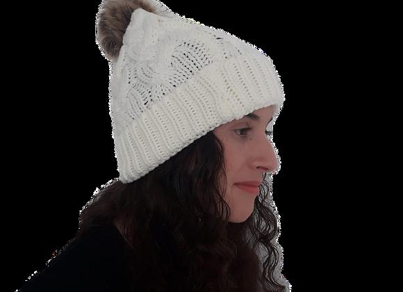 כובע צמות פונפון קרם שמנת