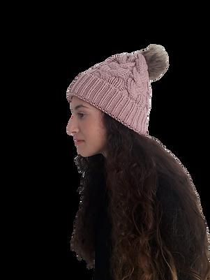 כובע צמות פונפון ורוד עתיק