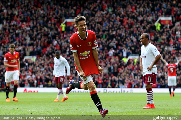 Ander Herrera, Manchester United Midfielder wheels away after scoring against visitors Aston Villa at Old Trafford.