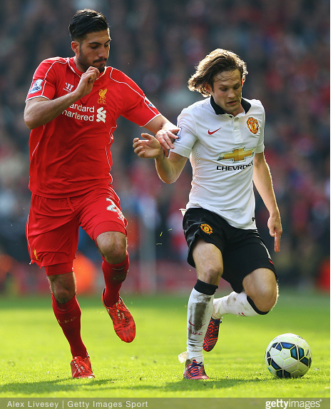 Daley Blind gave Emre Can problems throughout the clash between Manchester United and Liverpool at Anfield. Picture courtesy of Getty Images.