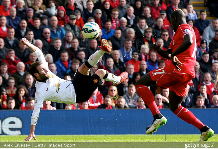 Juan Mata executes a perfect scissors kick volley to put Manchester United 2 goals up over Liverpool at Anfield.