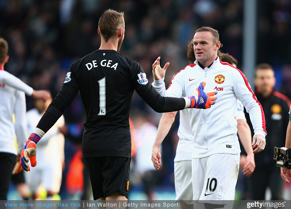 De Gea congratulated by his captain Rooney after 2-1 victory over Crystal Palace. Credit Ian Walton Getty Images