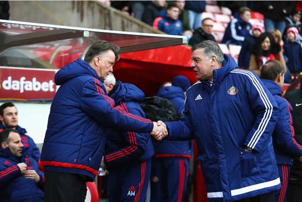 Louis Van Gaal shakes Sam Allardyce's hand