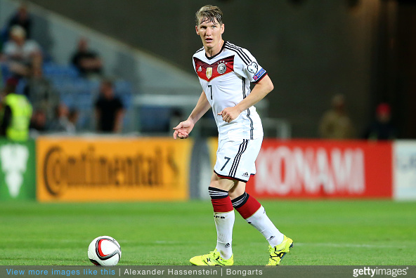 Bastian Schweinsteiger in German colors.